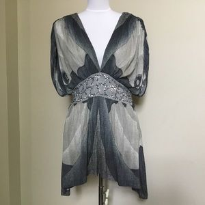 Free People Tops - FREE PEOPLE gray chiffon Boho sequin tunic top M